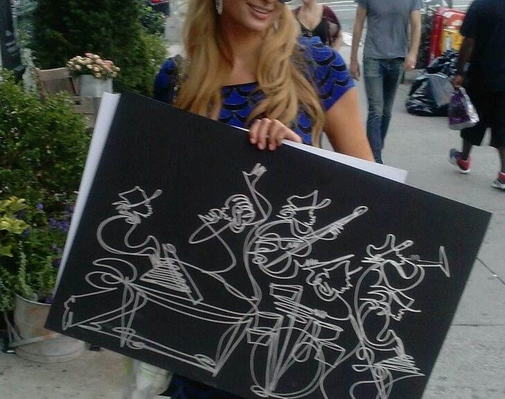 Paris Hilton with Sir Shadow One Line Art Drawings